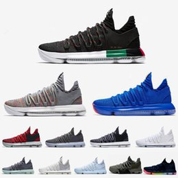 "$enCountryForm.capitalKeyWord Australia - 2018 High quality KD 10 Elite PE BHM Black ""35 "" White X Ice Blue Red Basketball Shoes for Kevin Durant 10s Multicolor Sports Sneakers 7-12"