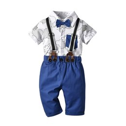 baby bib bow UK - Children's clothing suits, baby, gentleman, cloud, printing, haberdance, bib, suit, children, in vitro clothing