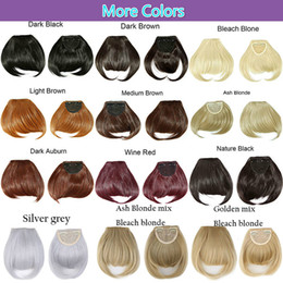 """Synthetic Hair Clip Bangs Australia - High Quality 8"""" Short Front Neat bangs Clip in bang fringe Hair extensions straight Synthetic Natural human hair extension bangs"""