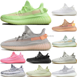 Discount kanye west shoes online shopping - With Box Discount Kanye West Clay V2 Static Reflective GID Glow In The Dark Mens Running Shoes True Form Women Men Sports Designer Sneakers
