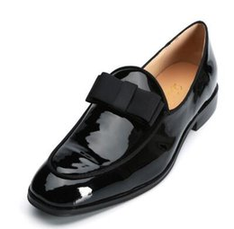 multi wedding dress Australia - Men Patent Leather Shoes Bowknot Slip-on Oxfords Belgian loafers Black Bow Wedding Flats Handmade Men Dress Shoes
