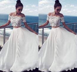Beautiful Beach Pictures Australia - 2 Piece Beautiful Beach Wedding Dresses With Sleeves Boho Off The Shoulder Lace Plus Size Wedding Dress Bridal Gowns Party For Bride Cheap