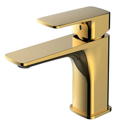 Free shipping gold pvd soild brass Bathroom Sink square Faucet modern faucet mixer tap single hole deck mounted