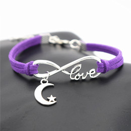 $enCountryForm.capitalKeyWord Australia - Silver Infinity Love Moon Stars Goodnight Pendants Charm Bracelets & Bangles Purple Leather Suede Rope Women Men Handmade Friendship Jewelry