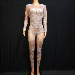 pole dance party Canada - X27 Female Elastic pearl bodysuit singer pole dance stage costumes proom wears jumpsuit party catwalk outfits dj dress clothe ds wears rave