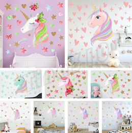 Wholesale Cross border ins dormitory wall decoration warm bedroom wall decoration rainbow Unicorn wallpaper wall sticker decorative Stickers T5I6009