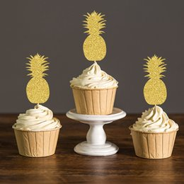 Bridal Shower Cupcakes Australia - Gold Silver Black Gliter Pineapple Cupcake Toppers Hawaiian Themed Bridal Shower Summer Pool Party Favors Decorations Cake Picks