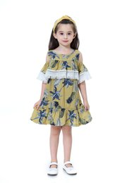 $enCountryForm.capitalKeyWord UK - Fashion Cotton Fringe Girls Dresses A-line Skirt Comfortable Kid Clothes Cute Pineapple With Botanical Print Girl Dress