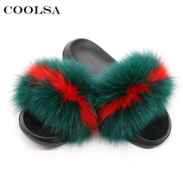 Chinese  Coolsa Summer Women Fox Fur Slippers Real Fox hair Slides Female Furry Indoor Flip Flops Casual Beach Sandals Fluffy Plush Shoes #10363 manufacturers