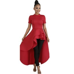 $enCountryForm.capitalKeyWord UK - Clocolor Women Blouse Shirt Plus Size Fashion Ruffle Tails Slim Summer Top Asymmetric Falbala Ladies Long Peplum Party Blouse J190614