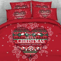 Discount cotton printed christmas bedding set 3D Love heart christmas print Duvet Cover with pillowcase Bedding 3 PCS Set, Microfiber Quilt Cover, Zipper Closure, NO