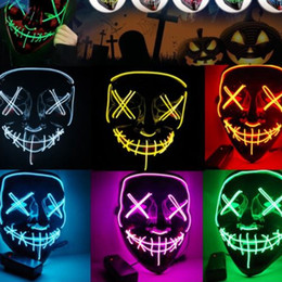 $enCountryForm.capitalKeyWord Australia - Led Halloween Mask EL Wire Light UP Glowing Mask Masquerade Cosplay Costume Party Festival Christmas Prom Mask 50PC WN664