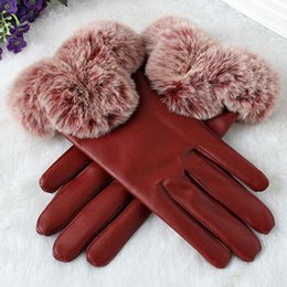 Leather Rabbit Gloves Australia - Fashion Elegant Women PU Leather Gloves Mittens Artificial True Rabbit Hair Winter Warm Touch Screen Lady Gloves