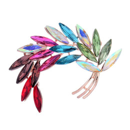 lead crystal christmas ornament UK - High Archives Rose Jin Hejin Color Crystal Feather Brooch Lead Needle Exquisite Leaf Brooch Pin Clothes & Accessories Small Ornaments