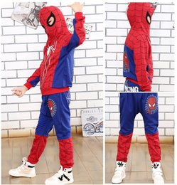 Discount spiderman wholesale coats - New Spiderman Baby Boys Clothing Sets Cotton Sport Suit For Boys Clothes Spring Spider Man Cosplay Costumes KIds Clothes