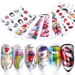 Nail stickers girls online shopping - 100pcs Nail Stickers Sexy Lips Cool Girl Water Decals Wraps Cartoon Sliders For Nail Decoration Manicure Colorful Tip