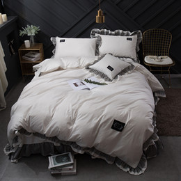 modern king beds NZ - Luxury Pure White color Black Lace Home cotton Bedding set King Queen Size Princess korean Ruffle Bedskirt Duvetcover Pillowcase