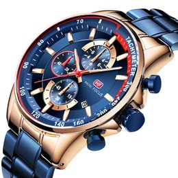 Metal Chronograph Australia - 2019 Fashion Blue Watch Men Quartz Clock Metal Strap Multifunction Calendar Sports Mens Watches relogio masculino
