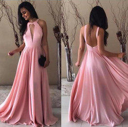 $enCountryForm.capitalKeyWord Australia - 2019 Cheap Prom Dresses Baby Pink Sexy Deep V Neck Chiffon Party Gowns Backless Floor Length Boho Special Occasion Dresses