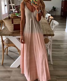colorful summer maxi dresses Australia - Summer Women Colorful Gradient Spaghetti Strap Party Dress Boho V neck Beach Long Maxi Dresses Plus Size 3XL