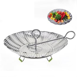 $enCountryForm.capitalKeyWord Australia - Stainless Steel Folding Dish Steamer Basket Mesh Vegetable Vapor Cooker Steamer Expandable Pannen Kitchen Utensil 30 Pieces DHL