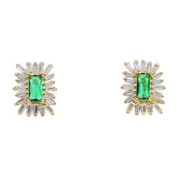92e736a7612a 2019 fashion simple geometric sparking square cz white green cubic zirconia earrings  women lady girl trendy design gift jewelry