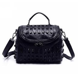 Punk Rock Handbags Australia - Tassel Bags Women Black Rock Rivets Punk Leather Handbags Patchwork Sheepskin 100% Leather Shoulder Messenger Bag Punk Purse