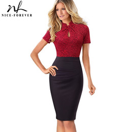 Chinese  Nice-forever Vintage Contrast Color Patchwork Wear To Work Knot Vestidos Bodycon Office Business Sheath Women Dress B430 Y19021409 manufacturers