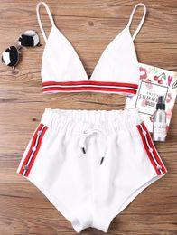 V cut bra online shopping - Fashion Two Pieces Women Set Sexy Bra Crop Top With High Cut Tie Elastic Waist Shorts Suit Outfits Beachwear Women Sets