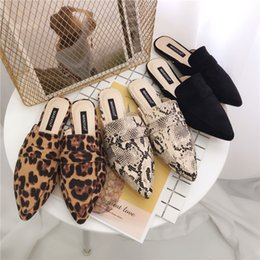 Pointed leoPard Print flats online shopping - Woman shoes Low heels Slippers pointed toe Mules shallow Slide Leopard Slip on loafers ladies snake prints sandalias mujer black