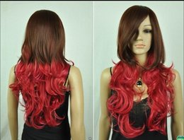 Mix Red Hair Australia - WIG FREE SHIPPING Hot heat resistant Party hair>>>Hot Sell ! Cos brown & red mix long curly cosplay full wig