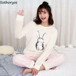 aedd9f2ac2 Pajamas Sets Women Thicker O-Neck Flannel Printed Kawaii Pockets Winter  Pajamas Womens Two Pieces Cartoon Korean Sleepwear Set