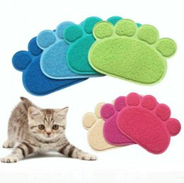Cat Food Storage Australia - 12 Colors Dog Puppy Paw Shape Placemat Pet Cat Dish Bowl Feeding Food PVC Mat Easy Clean wang