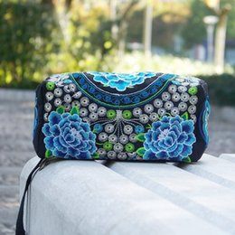 Discount handmade vintage clutch bags - Women Ethnic Handmade Embroidered Wristlet Floral Clutch Bag Vintage Purse Wallet Bolsa Feminina Pequena