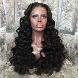 Loose Wave Human Hair Color Australia - Hand-made Loose Wave 100% Human hair Full Lace Wigs Bleached Knots Brazilian Virgin Hair Front Lace Wig With Baby Hair Natural Color