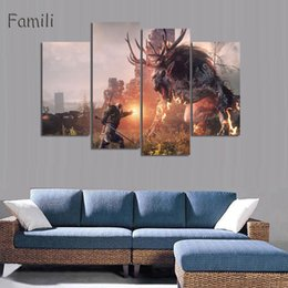 Canvas Prints Art Sale Australia - 2019 Sale Printed Witcher 3 Comics Canvas Painting Pop Modular Pictures HD Home Cuadros Decoracion 4Pcs Unframed Wall Art Posters