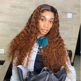 curly blonde full lace wigs NZ - 1B Honey Blonde Ombre Curly Full Lace Human Hair Wigs Pre plucked With Baby Hair Brazilian Remy Frontal Closure130% For Black Women