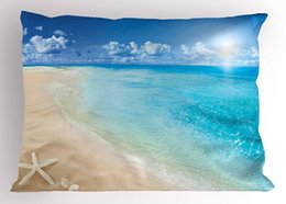 Wholesale Beach Pillow Sham Sunny Summer Seashore with Clear Sky Seashells Starfish Clouds Aquatic Picture Decorative Standard King Size Pillow Case