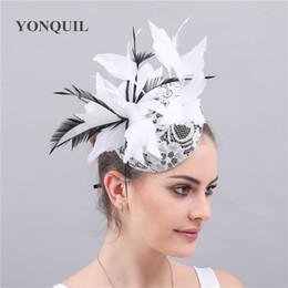 $enCountryForm.capitalKeyWord NZ - Fancy feathers chapeau wedding hats accessory fascinatos party women hair clips elegant ladies bridal lace bases feathers fedora free ship