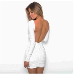 good quality Solid O-neck Women Dress Backless Long Sleeve Wrap Bodycon Low  Cut Sexy Club Dress Women White Black Mini Party Dress 241067f2d