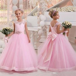 Wedding Vest Pink Australia - Lovely Pink Flower Girl Dresses For Wedding Custom Made Jewel Lace Appliques Beaded Bow Sash Girls Pageant Gowns Kids Communion Dresses