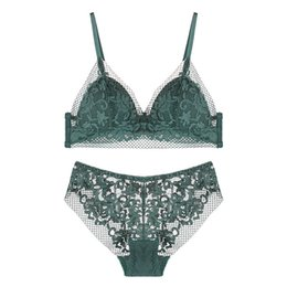 China Bra & Brief Sets Sexy Lace Underwear Set for Women Bra and Panty Set Wireless Triangle Thin Cup Hollow Out Lace Bralette Summer supplier green front closure bra suppliers
