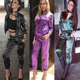 Striped ladieS jacketS online shopping - Womens Two Pieces Suits Summer New Fashion Ladies Sports Suit Street Style Striped Sweatpants Casual Jacket Trousers