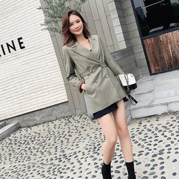 Korean ladies blazers online shopping - 2019 Autumn Korean Chic Womens Blazer Slim Double Breasted Retro Work Office Outfit Casual Long Blazers Ladies Coat Oversized