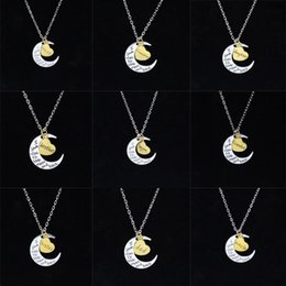 Wholesale Engraving Plate Gold 18k NZ - statement necklaces engraving pendants High Quality Cheap Jewelry I Love You Sun And Moon Necklaces 925 Silver 24K Gold Chains Necklaces