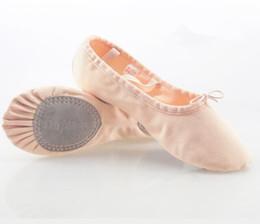 Womens Canvas Dance Dansoft Full Sole Leather Ballet Slipper Shoe, Pink