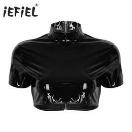 Discount bell costume women - T-Shirts iEFiEL Women Fashion Wetlook T-Shirts Faux Leather Stand Collar Back Zipper Half Top Sexy Clubwear Night Punk C