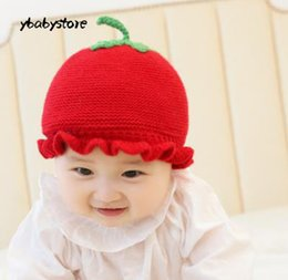 430d43738cb Autumn and winter baby warm hat Cartoon tomato Knitting wool Ear cap Red  Yellow Pink Purple Cotton thread baby hat 2pcs lot