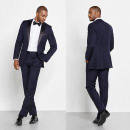 $enCountryForm.capitalKeyWord Canada - Navy Gentle Groom Wedding Tuxedos Satin Black Peaked Lapel One Button Mens Designer Jackets Blazer Suits Formal Prom Custom (Jacket+Pants)