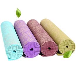 $enCountryForm.capitalKeyWord Australia - Linen Yoga Mat Eco-Friendly Rubber Non Slip 183*61CM*5MM Bodybuilding Fitness Pilates Exercise Mat Yoga Mats 4 Color Pad